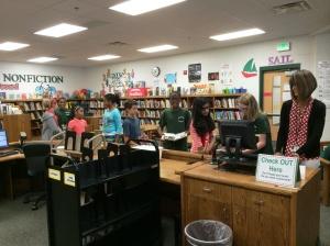 lining up at checkout
